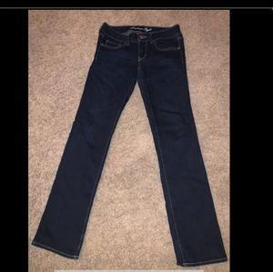 Express Jeans Size 6 Straight,  stretch Dark Blue